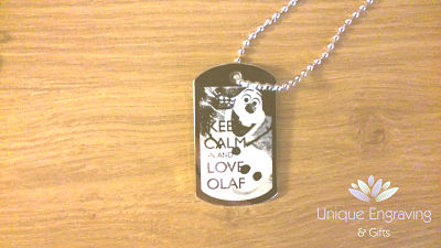 Unique Text Engraved Disney Olaf Frozen ID Tag